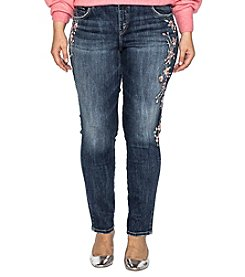 Silver Jeans Co. Plus Size Elyse Skinny Embroidered Jeans