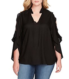 Jessica Simpson Plus Size Bruna Cold Shoulder Ruffle Sleeve Peasant Top
