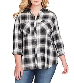 Jessica Simpson Plus Size Tie Back Plaid Top