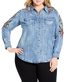 Jessica Simpson Plus Size Floral Embroidery Western Shirt