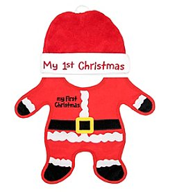 Cuddle Bear My First Christmas Bib and Hat Set