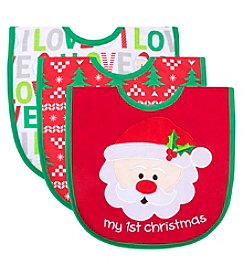 Cuddle Bear 3 Pack First Christmas Bibs