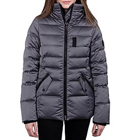 William Rast Women's Quilt Jacket with High Stand Collar
