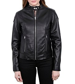 William Rast Women's Leather Moto Cross Jacket