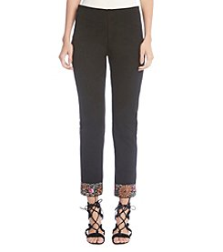 Karen Kane Black Embroidered Ankle Pant