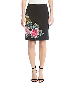 Karen Kane Black Textured Floral Skirt