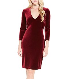 Karen Kane Velvet V Neck Sheath Dress