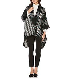 Rafaella Reversible Plaid And Jacquard Blanket Cape