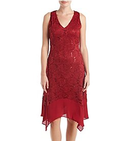 Luxology Red Ruff V-Neck Dress