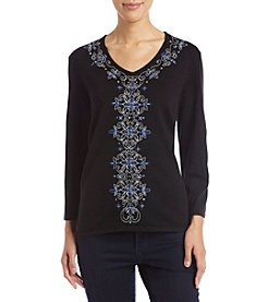 Alfred Dunner 3Q Sleeve Beaded Sweater