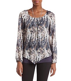 AGB Abstract Print Sheer Striped Top