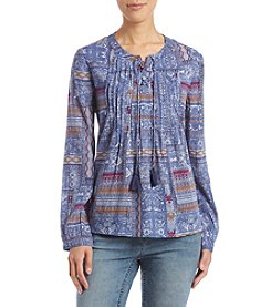 Ruff Hewn Pintuck Laceup Abstract Geometric Pattern Top