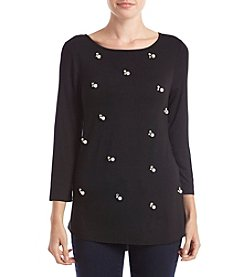 Cupio 3/4 Sleeve Pearl Embellished Knit Top
