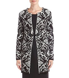 Cupio Black Geometric Patterned Toggle Closure Cardigan