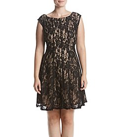 Gabby Skye Plus Size Lace Illusion Fit And Flare Dress