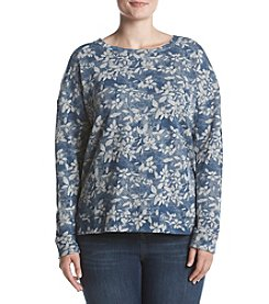 Ruff Hewn Plus Size High Low Floral Pattern Sweatshirt