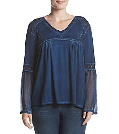 Ruff Hewn Plus Size V-Neck Bell Sleeve Top