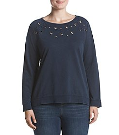 Ruff Hewn Plus Size Grommet Detail Pullover