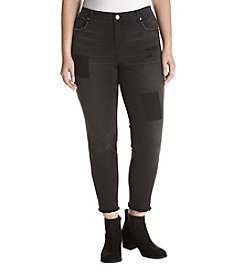 Ruff Hewn GREY Plus Size Black Shadow Patch Jeans