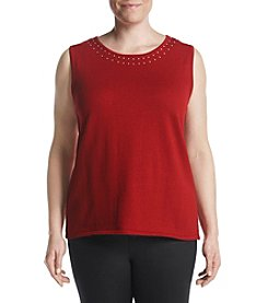 Kasper Plus Size Studded Trim Knit Top