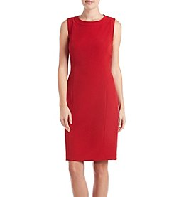 Kasper Fire Red Sheath Crepe Dress
