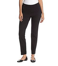 Nine West Skinny Snap Detail Compression Pants