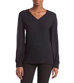 Nine West Pearl Lace Trim Detail Sheer Illusion Sleeves Top