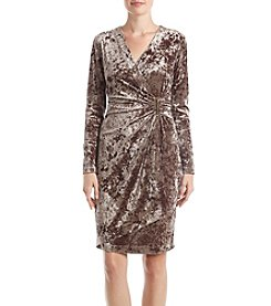 Calvin Klein Crushed Velvet Faux Wrap Dress