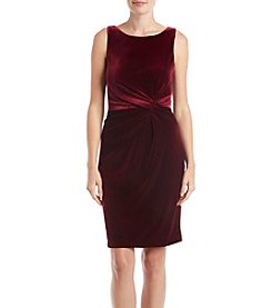 Calvin Klein Twist Bodice Velvet Sheath Dress