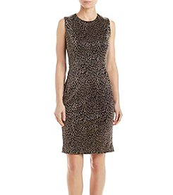 Calvin Klein Metallic Embossed Animal Sheath Dress