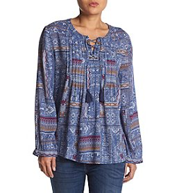 Ruff Hewn Petites' Pintuck Laceup Abstract Geometric Pattern Top