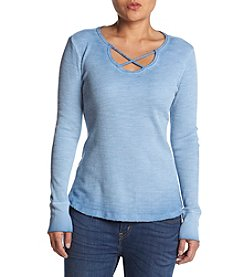 Ruff Hewn Petites' Lattice V-Neck Thermal Top