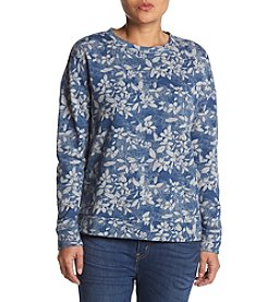 Ruff Hewn Petites' High Low Floral Pattern Sweatshirt