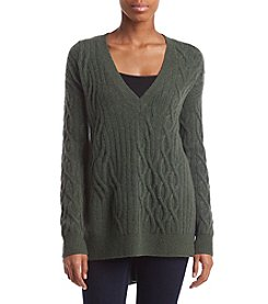 Kenneth Cole Cableknit Side Slit Hem Sweater
