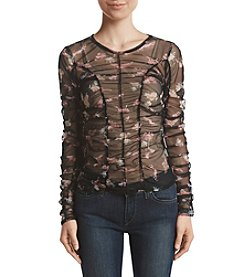 Hippie Laundry Floral Mesh Ruched Floral Print Top