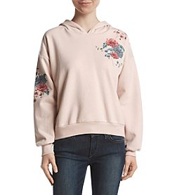Hippie Laundry Floral Embroidered Hooded Sweatshirt