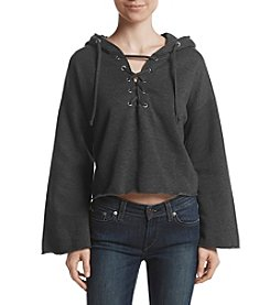 Hippie Laundry Lace Up Raw Edge Hem Hooded Sweatshirt