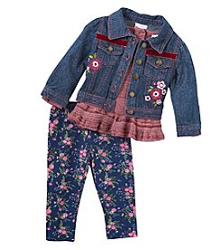 Nannette Baby Girls' 12M-24M Woven Jacket Shirt And Pants Set