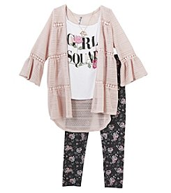 Beautees Girls' 7-16 3 Piece Cozy Cardigan Tank And Necklace Set