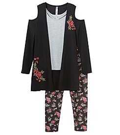 Beautees Girls' 7-16 3 Piece Embroidered Cardigan, Tank And Leggings Set