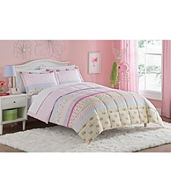 Living Quarters Sweet Banded Microfiber Down-Alternative  Comforter