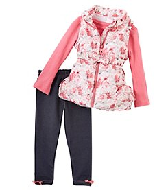 Nannette Baby Girls' 12M-24M 3 Piece Floral Vest Set