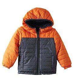 London Fog Baby Boys' 12M-24M Reversible Quilted Teddy Sherpa Jacket
