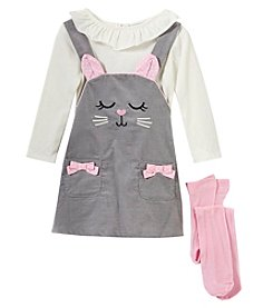 Sweet Heart Rose Baby Girls' 12M-24M 3 Piece Cat Jumper Set