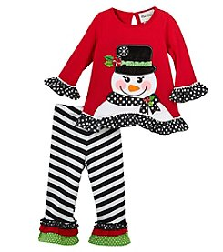Rare Editions Baby Girls' 12M-24M Top And Striped Leggings Set