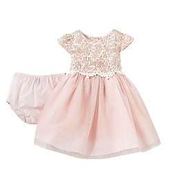 Rare Editions Baby Girls' 6M-24M Sparkle Lace And Mesh Dress Set