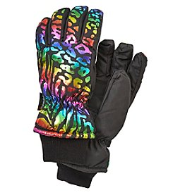 Miss Attitude Girls' Rainbow Leopard Tiger Print Gloves