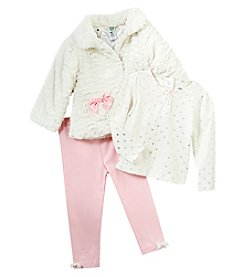 Little Me Baby Girls' 12M-24M Faux Fur Jacket With Leggings Set