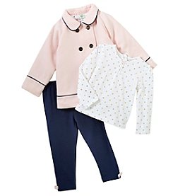 Little Me Baby Girls' 12M-24M 3 Piece Jacket, Tee And Leggings Set