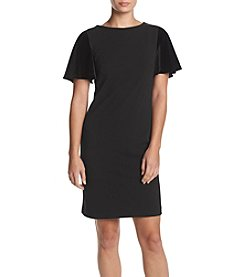 Calvin Klein Velvet Flutter Sleeve Dress